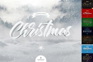 圣诞节主题海报文字样式PSD分层模板 Christmas Text Effects插图1