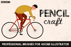 铅笔数码绘画AI画笔笔刷 Pencilcraft Brushes for Adobe Illustrator插图1
