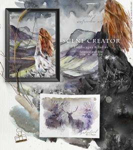"""高品质梦幻水彩矢量插画素材大合集[1.88GB] Fantasy illustrations """"Once in the dream""""插图4"""