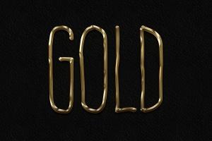 3D金属黄金字体特效PS字体样式 Metal Layer Styles – Photoshop Gold Text Effect插图1