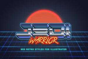 80年代复古文本图层样式 80s Retro Illustrator Styles插图11