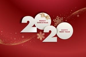 圣诞节庆祝暨迎接2020年主题矢量插画设计素材v1 Merry Christmas and Happy New Year 2020插图1