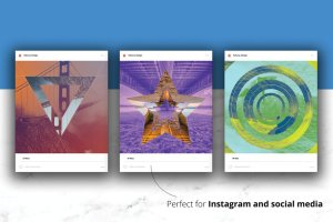 双色调几何形状PSD分层模板 Duotone Geometric Shapes插图3