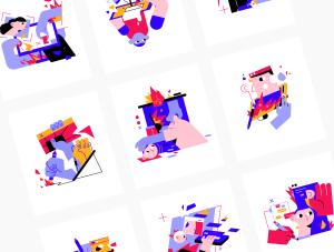 一流设计素材网下午茶:矢量创意人物插画素材下载[AI,Sketch,Fig]插图6
