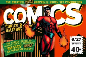 漫画和半色调Procreate笔刷 Comics & Halftone: Procreate Brushes插图1