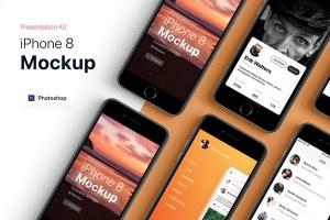 APP界面设计截图预览iPhone 8手机样机模板v3 Presentation Kit – iPhone showcase Mockup插图2