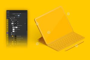 "附带键盘iPad Pro平板电脑UI设计效果图左视图样机 Clay iPad Pro 12.9"" Mockup, Isometric Left View With Keyboard插图5"