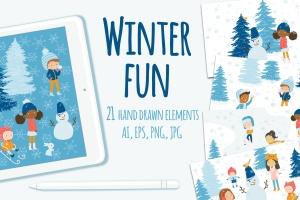 冬天儿童乐园矢量插画设计素材 Winter Fun Vector Graphic Set插图(1)