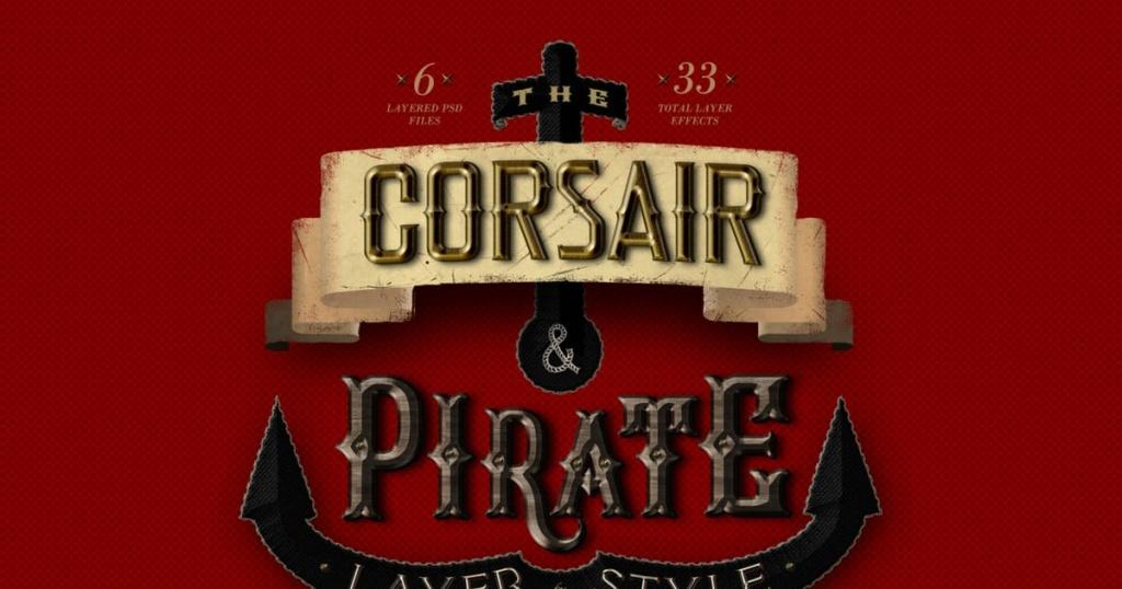 33种复古PS字体特效PS图层样式 Corsair & Pirates Photoshop Layer Styles FX插图