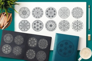 圆形曼陀罗花纹神圣几何图案矢量素材包 Sacred Geometric Mandalas Collection插图1