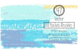 蜡笔绘画艺术AI画笔笔画 Vector Oil Pastels Brushes插图1