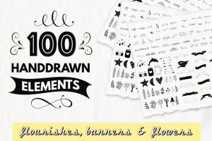 100种手绘装饰元素矢量图案素材 100 Decorative Elements插图1