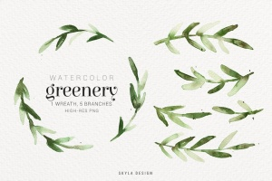 绿色水彩手绘枝叶图案PNG素材 Watercolor greenery插图(2)
