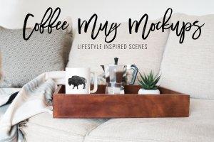咖啡马克杯样机模板 Coffee Mug Mockup Stock Photo Bundle插图10