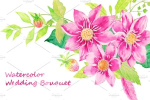 婚礼请柬、结婚贺卡水彩大丽菊花束剪贴画  Watercolor Wedding Dahlia Bouquet插图1