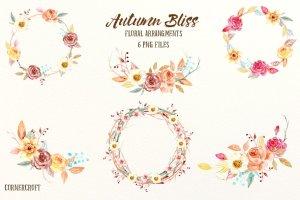 秋季氛围水彩插花花环装饰素材 Watercolor Fall Floral Arrangements插图1