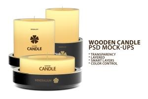 木制蜡烛外观设计PSD样机模板 Wooden Candle PSD Mock-ups插图1