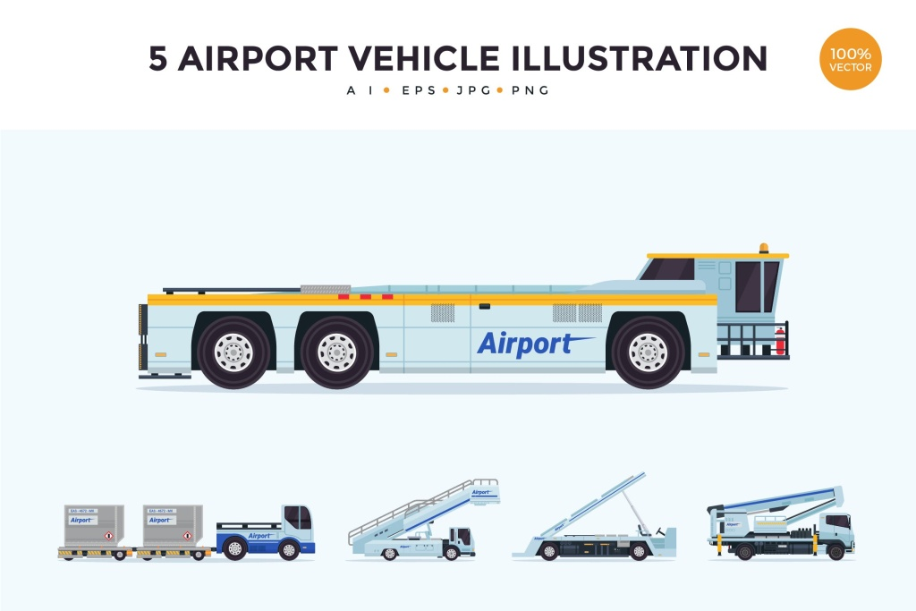 5个机场维护车辆矢量图形素材v2 5 Air Vehicle Maintenance Illustration Set 2插图