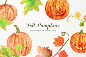 水彩南瓜手绘插画剪贴画PNG素材 Watercolor Pumpkins Clipart插图1