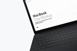 悬浮状态MacBook笔记本电脑屏幕界面设计预览样机 Clay MacBook Mockup, Floating插图2