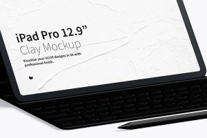 """附带键盘的iPad Pro平板电脑屏幕演示样机模板 Clay iPad Pro 12.9"""" Mockup, With Key Board插图3"""