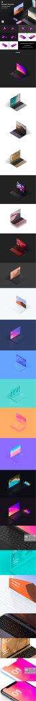 精品:高端的 Macbook 多角度场景样机下载 [PSD]