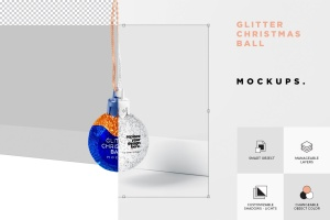 闪闪发光圣诞装饰球样机模板 Glitter Christmas Ball Mockup插图6