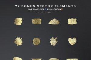 300+金光闪闪金箔图层样式 300+ Gold Glitter Foil Styles插图16