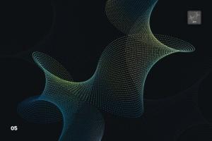 抽象虚线波浪漩涡图案Photoshop笔刷 Dotted Wavy Swirls Photoshop Brushes插图6