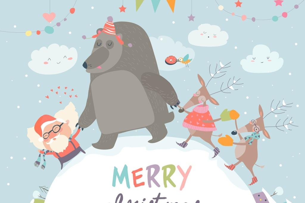 圣诞老人/驯鹿/熊圣诞节主题矢量手绘素材 Santa ,reindeers and bear celebrating Christmas插图