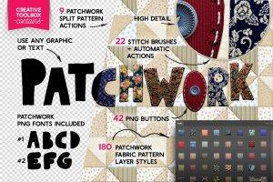 创意拼凑效果PS笔刷&图层样式合集 PATCHWORK Effect Photoshop TOOLKIT插图2