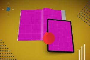 杂志印刷设计/杂志APP设计图预览样机样机 Abstract Magazine App Mouckup插图12
