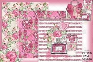 情人节礼物腮红色水彩花卉剪贴画设计素材 Spring Girl digital paper pack插图2
