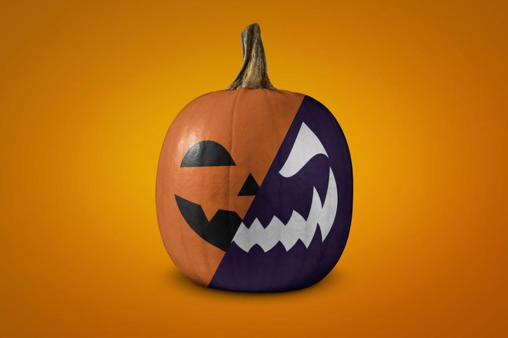 可定制图案万圣节南瓜样机模板 Halloween pumpkin mockup插图