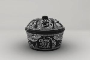 浮雕陶瓷餐具样机模板 Ceramic Pot Packaging MockUp插图5