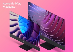 iMac一体机网站UI设计效果图预览样机素材v2 Isometric iMac Mockup 2.0插图3