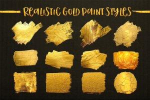 浮雕&扁平金属效果图层样式大合集 Gold Paint Effect for Photoshop插图3