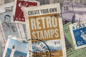 复古邮票印章效果图层样式PSD分层模板 Old Stamping Ground – Smart PSD插图1