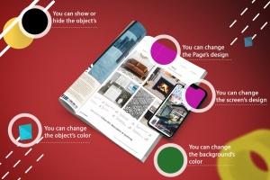 杂志印刷设计/杂志APP设计图预览样机样机 Abstract Magazine App Mouckup插图2