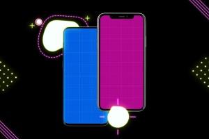 高质量霓虹灯风格iOS/Android手机样机模板 Neon IOS & Android插图10