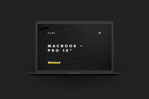 MacBook Pro高端笔记本电脑UI设计效果图前视图样机 Clay MacBook Pro 15″ with Touch Bar, Front View Mockup插图6