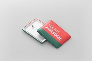 矩形徽章扣子样机模板 Rectangle Badge Button Mockup插图3