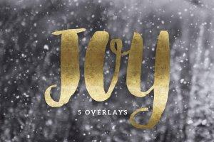 一套精美的手绘圣诞金箔字母装饰素材  Christmas Gold Foil Lettering插图1