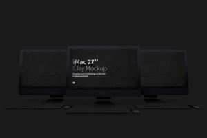 "iMac苹果一体机Web网页界面设计效果图样机模板02 Clay iMac 27"" Mockup 02插图2"