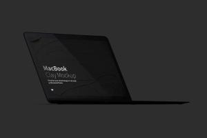 MacBook高端笔记本屏幕演示左前视图样机 Clay MacBook Mockup, Front Left View插图5