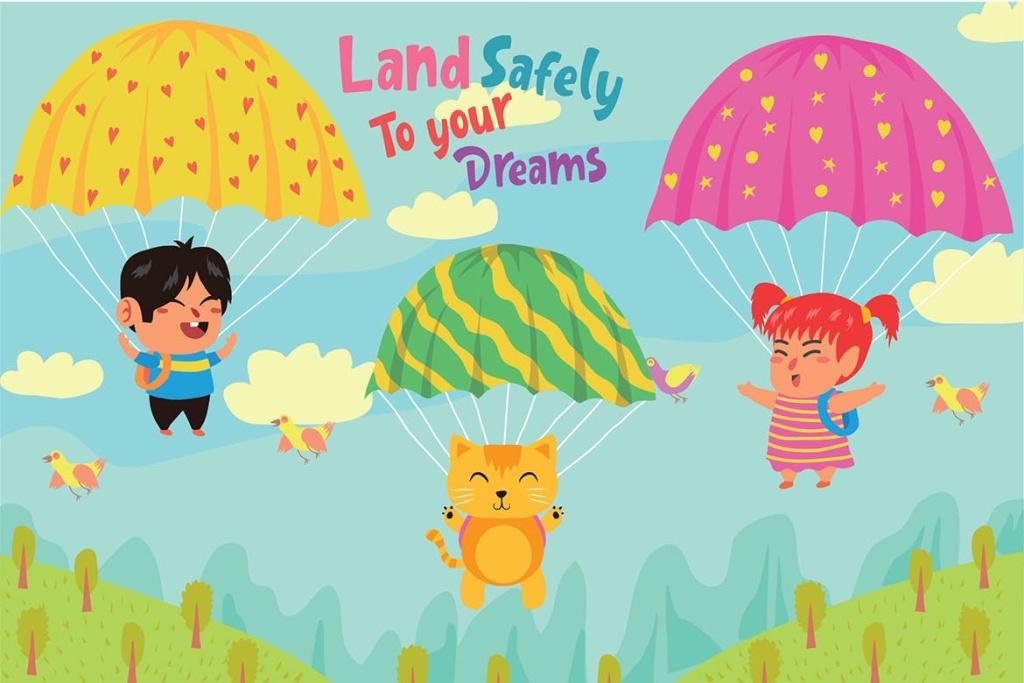 降落伞儿童主题乐园矢量插画素材 Parachute – Vector Illustration插图