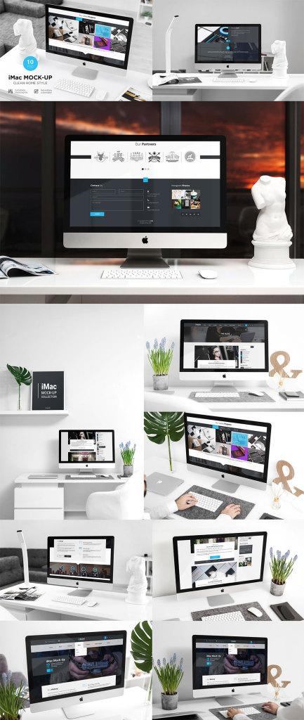 一流设计素材网下午茶:一套时尚完美的苹果iMac电脑网页设计展示模型[PSD]插图