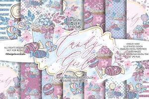 糖果女孩水彩花卉剪贴画合集 Candy Girl digital paper pack插图1