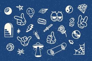 30+线条艺术纹身图案&徽章矢量图形素材 30++ Line Hype Tattoo Vector & Badge插图(3)