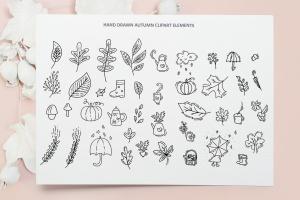 秋季花卉元素手绘线条画矢量插画素材 Monoline vector autumn floral elements插图7